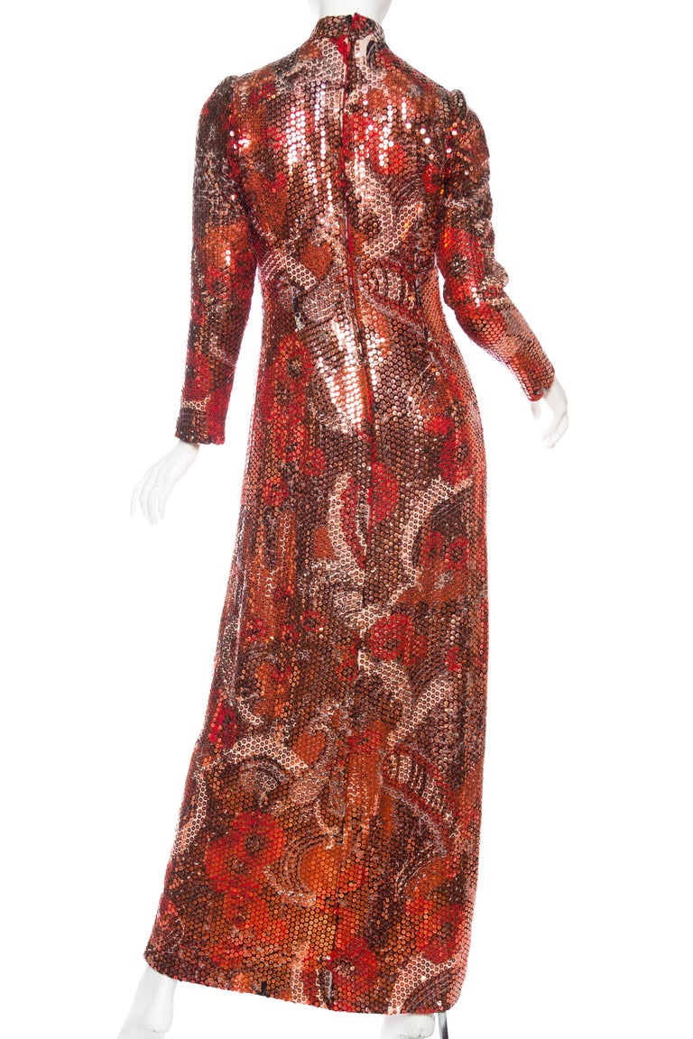 1970S Red & Brown Wool Psychedelic Floral Anne Fogarty Sequined Sleeved Gown For Sale 2