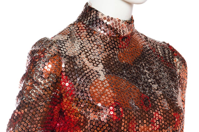 1970S Red & Brown Wool Psychedelic Floral Anne Fogarty Sequined Sleeved Gown For Sale 3