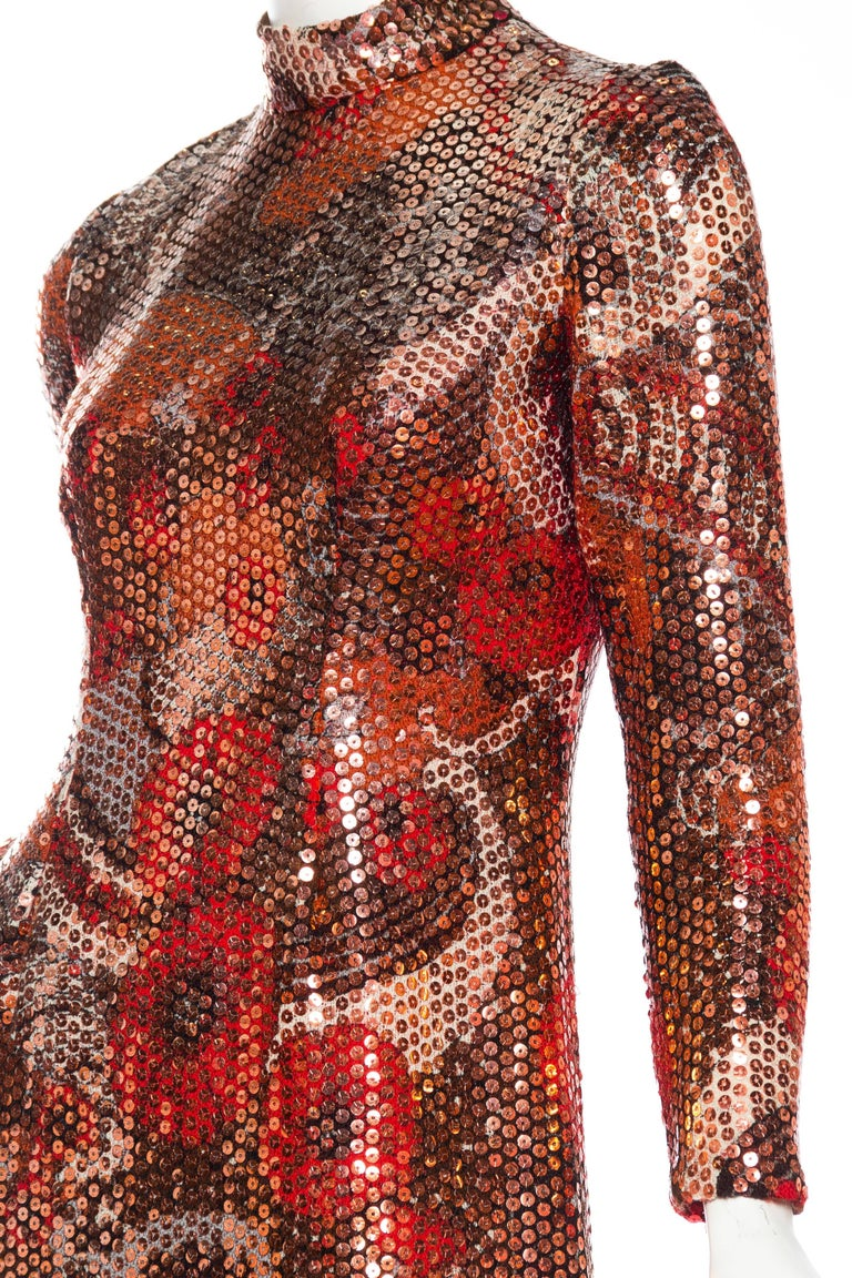 1970S Red & Brown Wool Psychedelic Floral Anne Fogarty Sequined Sleeved Gown For Sale 4