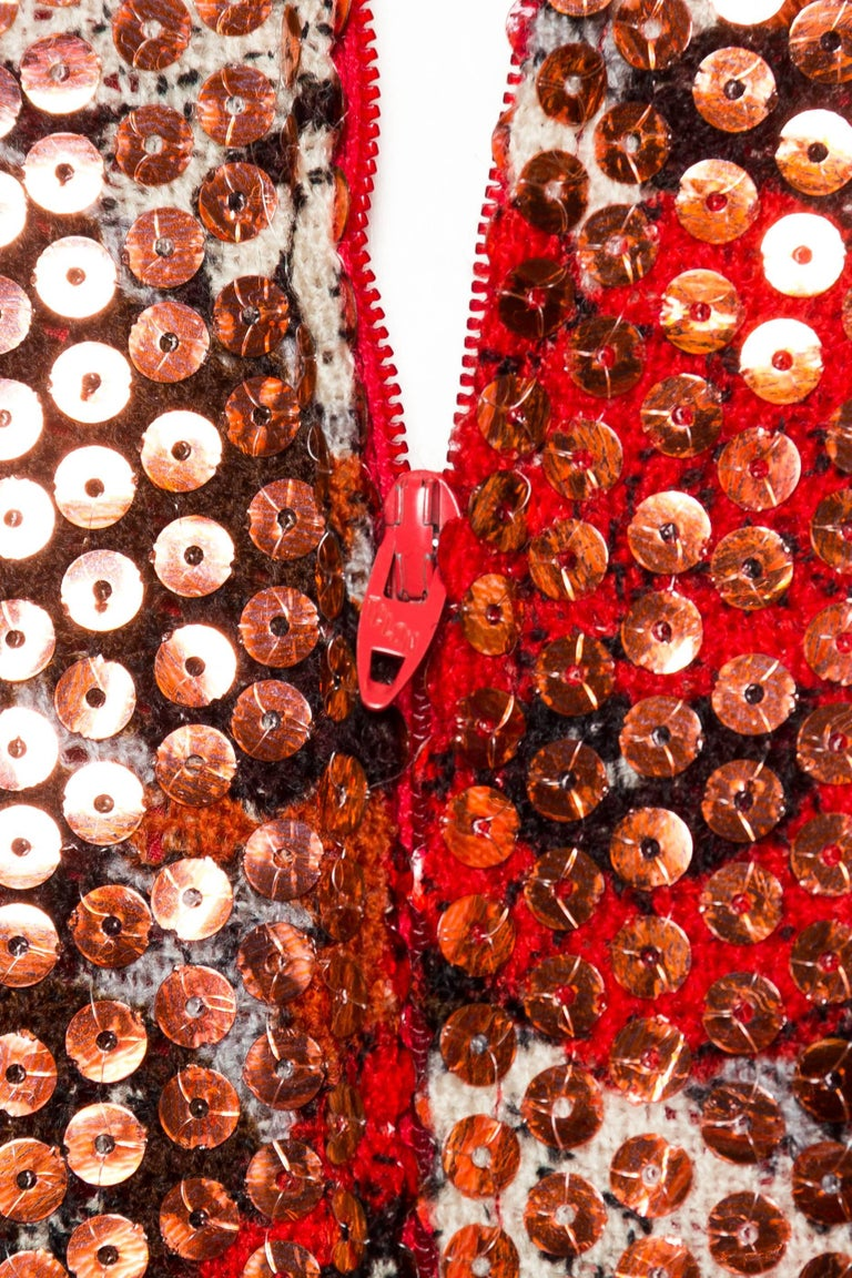 1970S Red & Brown Wool Psychedelic Floral Anne Fogarty Sequined Sleeved Gown For Sale 6