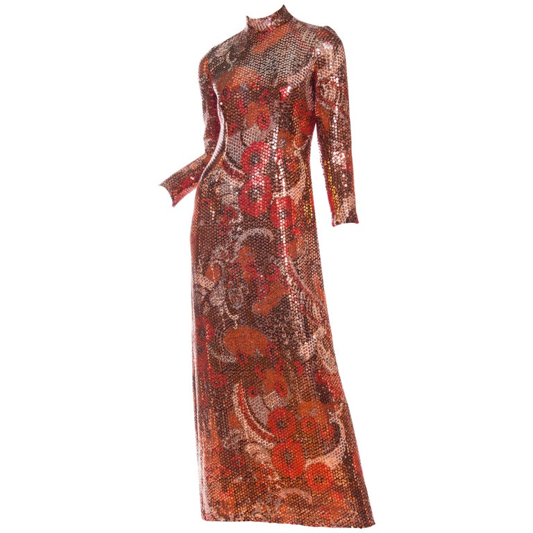 1970S Red & Brown Wool Psychedelic Floral Anne Fogarty Sequined Sleeved Gown For Sale