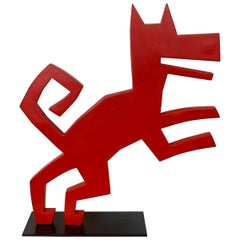 1970s Red Dog Sculpture on Iron Base