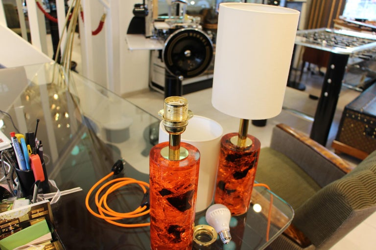Red Fractal Resin Pair of Table Lamps,Marie-Claude de Fouquières,Pierre Giraudon For Sale 4