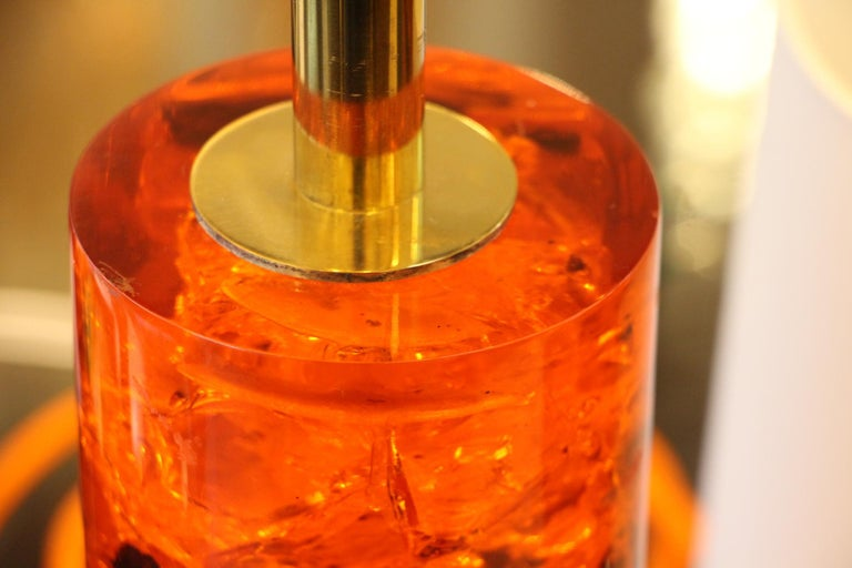 Red Fractal Resin Pair of Table Lamps,Marie-Claude de Fouquières,Pierre Giraudon For Sale 5