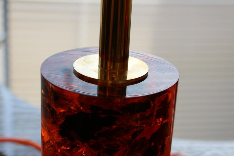 Mid-20th Century Red Fractal Resin Pair of Table Lamps,Marie-Claude de Fouquières,Pierre Giraudon For Sale