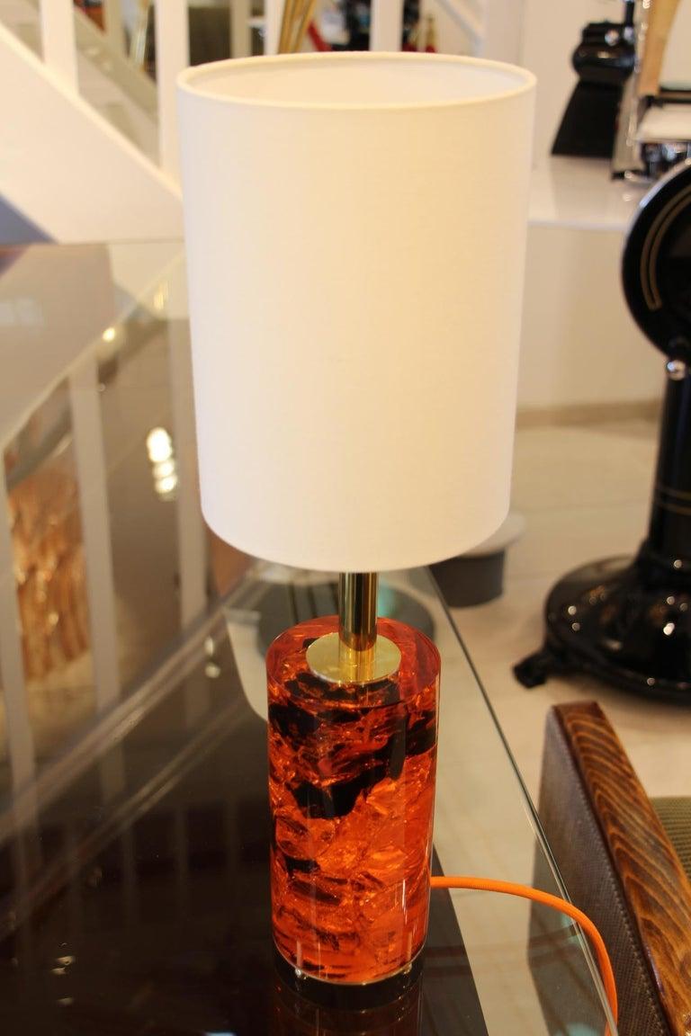 Red Fractal Resin Pair of Table Lamps,Marie-Claude de Fouquières,Pierre Giraudon For Sale 1