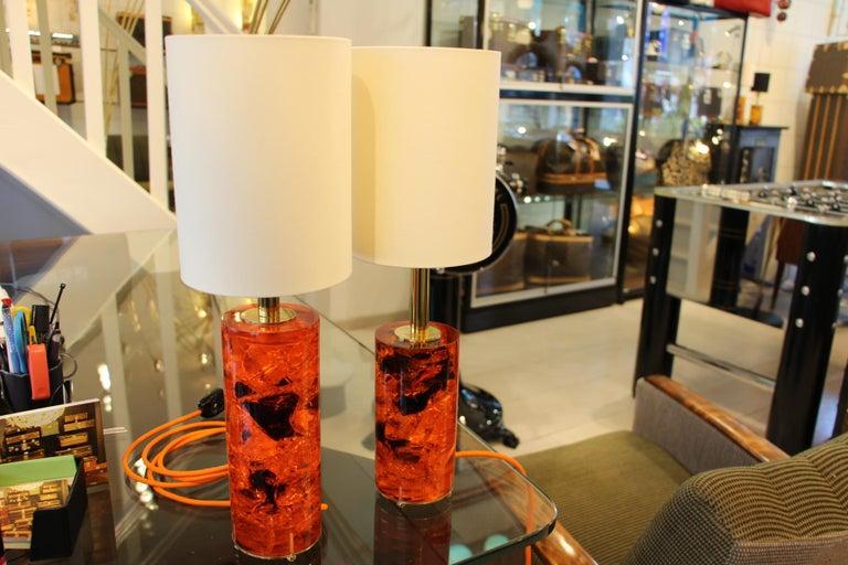Red Fractal Resin Pair of Table Lamps,Marie-Claude de Fouquières,Pierre Giraudon For Sale 2
