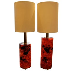 Red Fractal Resin Pair of Table Lamps,Marie-Claude de Fouquières,Pierre Giraudon