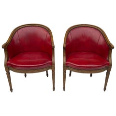 1970s Red Leather and Fruitwood Tub Chairs by Baker Furniture, a Pair