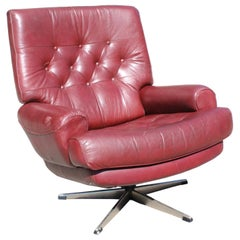 1970s Red Leatherette Office Sofa with Steel Legs
