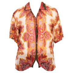 1970S Red Paisley Cotton Lawn Men's Shirt
