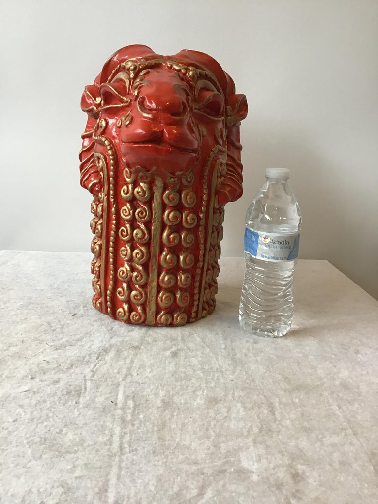 1970s Red Plaster Ram Head Sculpture In Good Condition For Sale In Tarrytown, NY