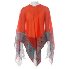 1970S Red Polyester & Silk Chiffon Bias Sheer Scarf Top With Aztec Border Print