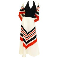 1970s Red, White, and Blue Chevron halter Maxi Dress with Shawl