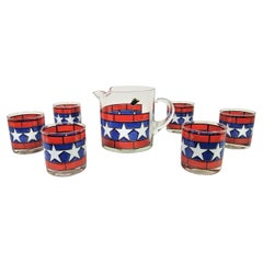 1970s, Red, White and Blue with Stars Glassware Barware Set of 6 with Pitcher