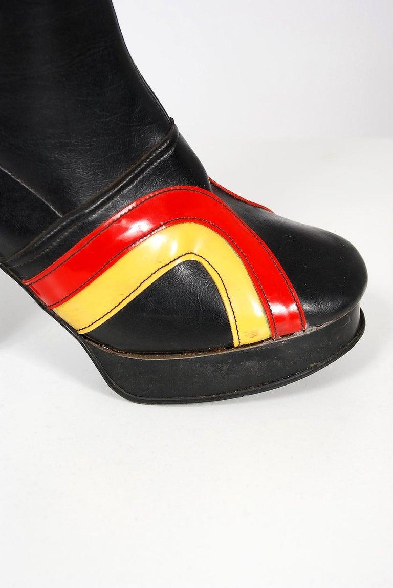 Women's Vintage 1970's Red Yellow Stripe Black Vinyl Glam Rock Platform Knee-High Boots For Sale