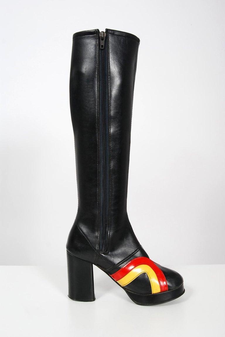 Vintage 1970's Red Yellow Stripe Black Vinyl Glam Rock Platform Knee-High Boots For Sale 1