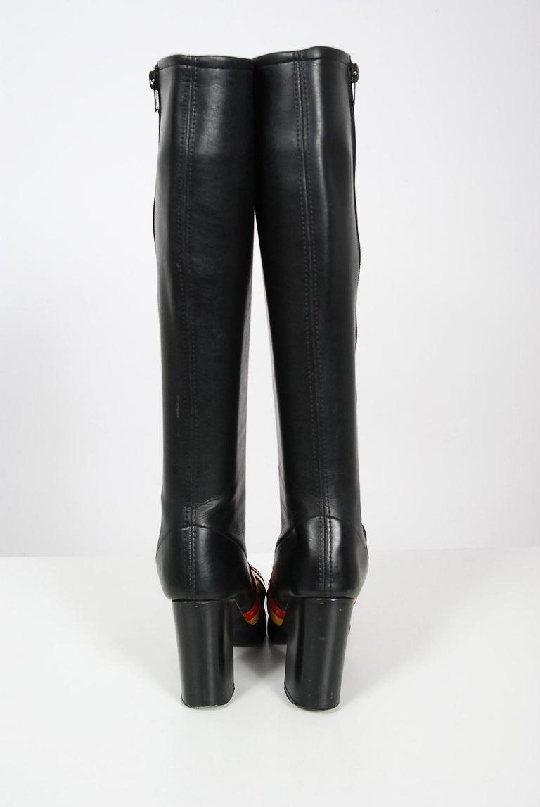 Vintage 1970's Red Yellow Stripe Black Vinyl Glam Rock Platform Knee-High Boots For Sale 2