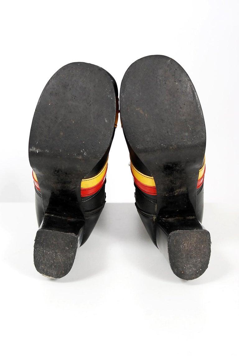 Vintage 1970's Red Yellow Stripe Black Vinyl Glam Rock Platform Knee-High Boots For Sale 3