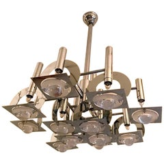 1970s Reggiani Chrome and Glass Lens Geometric Abstract Chandelier