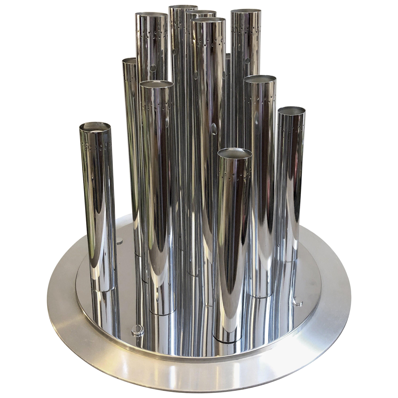 1970s Reggiani Huge Space Age Chromed Steel Italian Thirteen Lights Chandelier