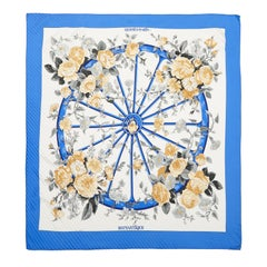 1970s Reissue 'Romantique' Hermes Pleated Silk Scarf in Blue