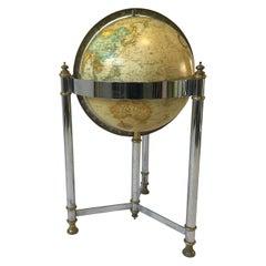 1970s Replogle Globe on Chrome and Brass Stand