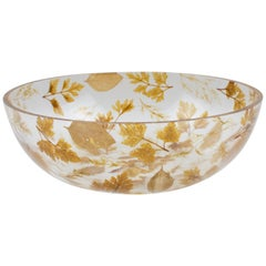 1970s Resin Serving Bowl with Leaves Inclusions by Resinplast, Italy