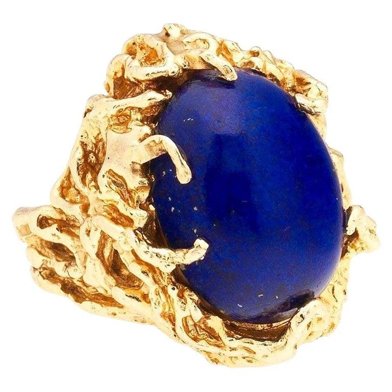 1970s Retro 14 Karat Gold Lapis Lazuli Freeform Naturalistic Cocktail Ring For Sale