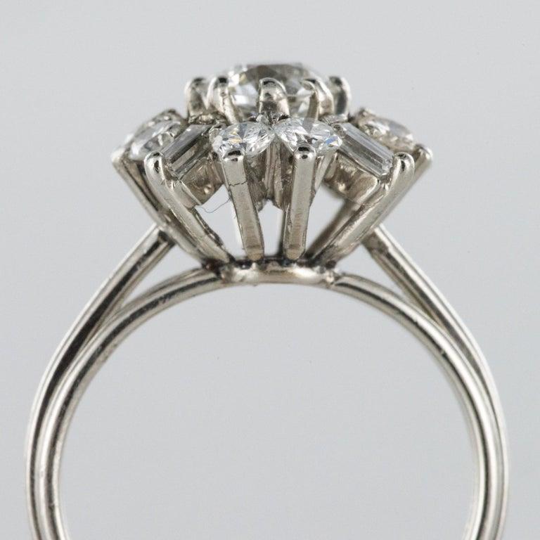 1970s Retro Brilliant Diamonds Baguette Diamonds Platinum Ring For Sale 5