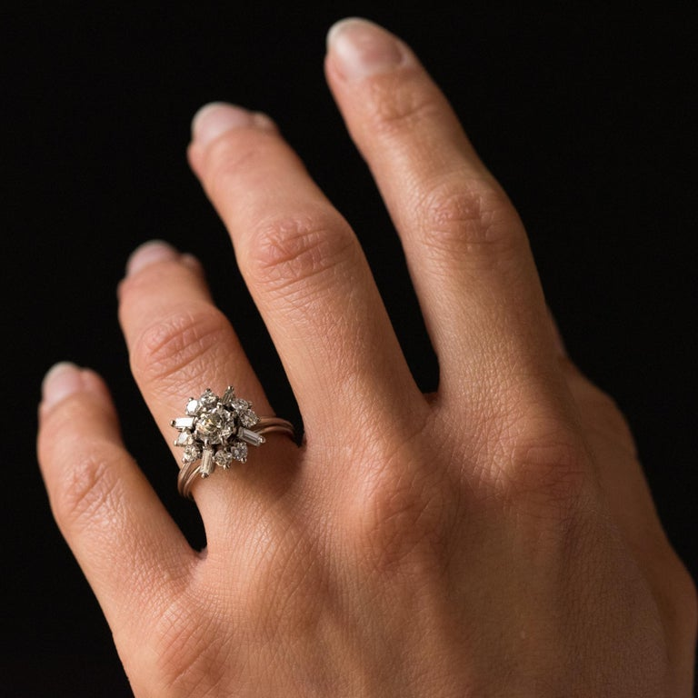 1970s Retro Brilliant Diamonds Baguette Diamonds Platinum Ring For Sale 6