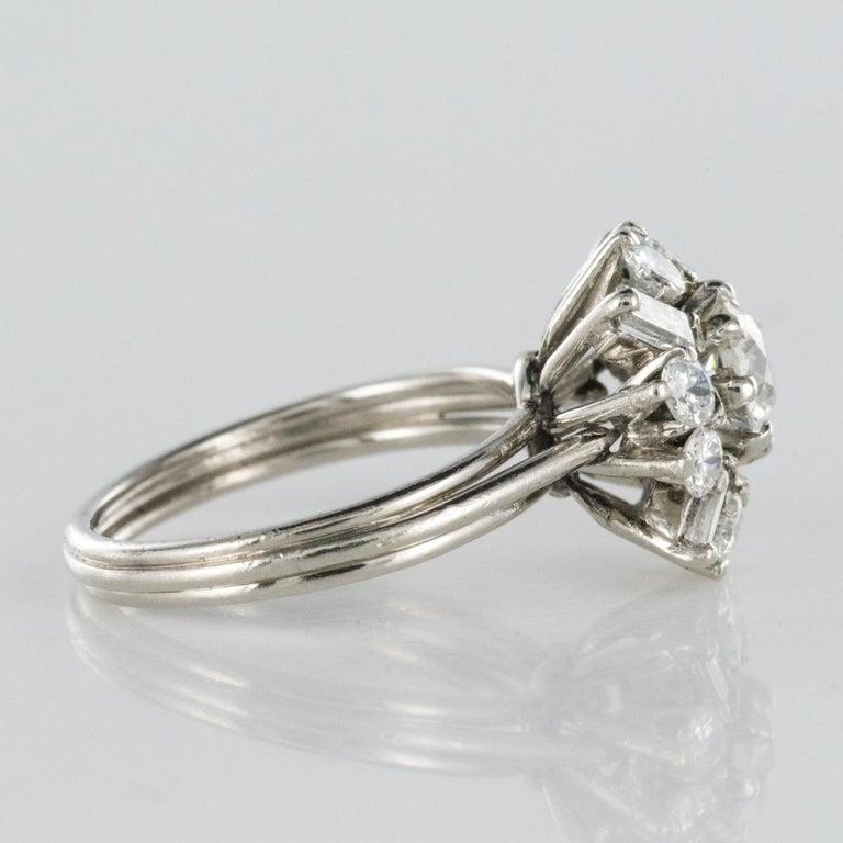 1970s Retro Brilliant Diamonds Baguette Diamonds Platinum Ring For Sale 7