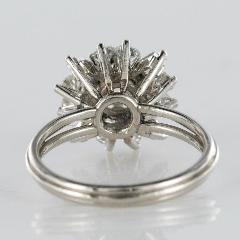 1970s Retro Brilliant Diamonds Baguette Diamonds Platinum Ring For Sale 8