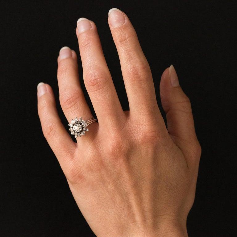 1970s Retro Brilliant Diamonds Baguette Diamonds Platinum Ring For Sale 9