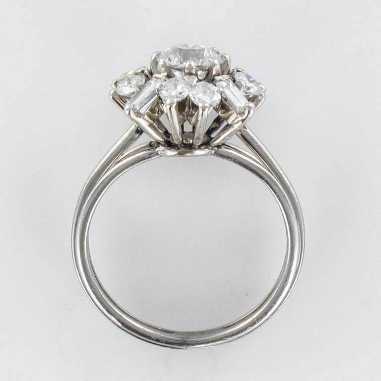 1970s Retro Brilliant Diamonds Baguette Diamonds Platinum Ring For Sale 10