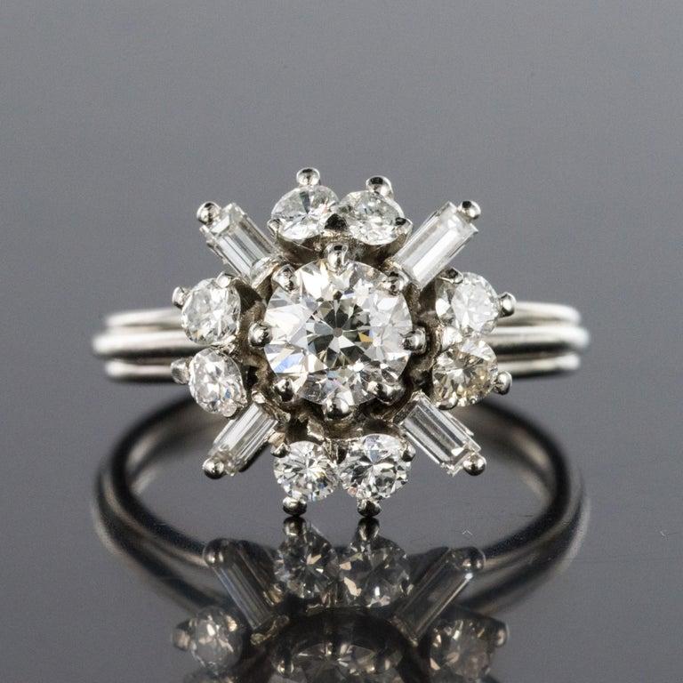 Round Cut 1970s Retro Brilliant Diamonds Baguette Diamonds Platinum Ring For Sale