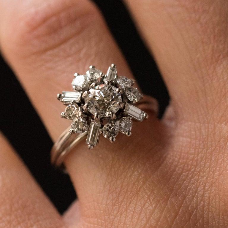 Women's 1970s Retro Brilliant Diamonds Baguette Diamonds Platinum Ring For Sale