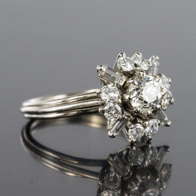 1970s Retro Brilliant Diamonds Baguette Diamonds Platinum Ring For Sale 1