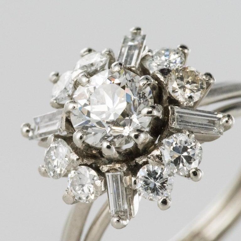 1970s Retro Brilliant Diamonds Baguette Diamonds Platinum Ring For Sale 2