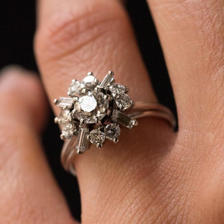 1970s Retro Brilliant Diamonds Baguette Diamonds Platinum Ring For Sale 3