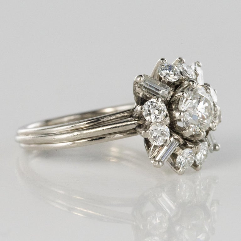 1970s Retro Brilliant Diamonds Baguette Diamonds Platinum Ring For Sale 4