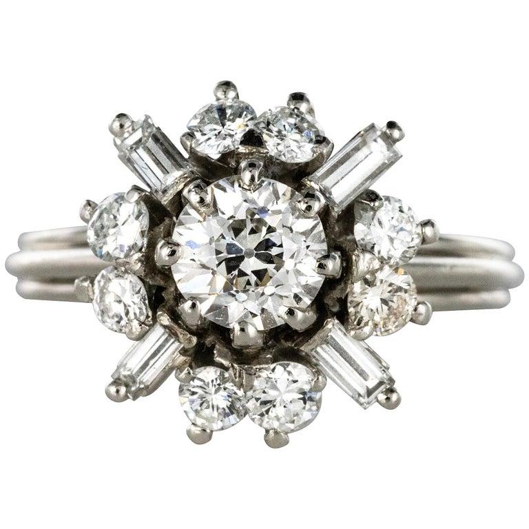 1970s Retro Brilliant Diamonds Baguette Diamonds Platinum Ring For Sale