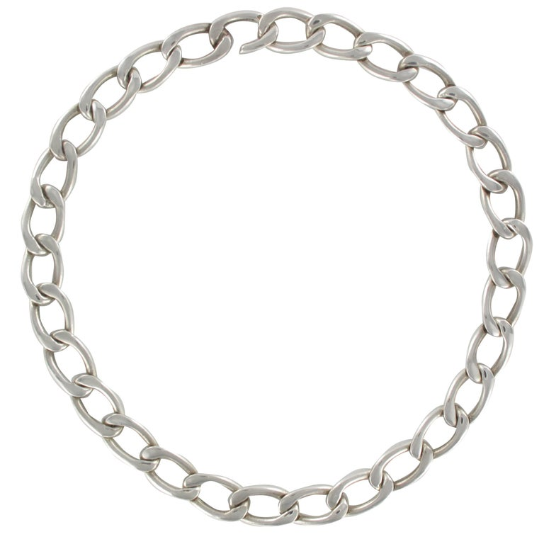 1970s Retro Gourmette Link Silver Necklace
