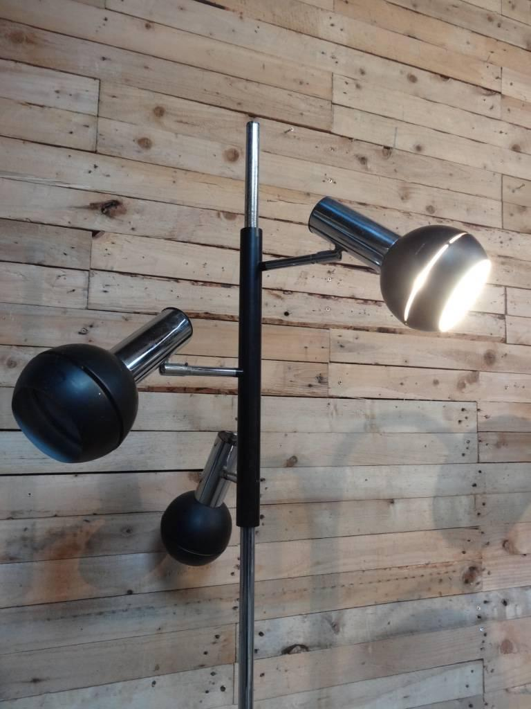1970s Retro vintage freestanding Dijkstra black chrome reading floor lamp with three lights