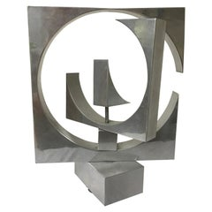 Revolving Polished Aluminum Abstract Sculpture By Anne Tanner