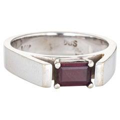 1970s Rhodolite Garnet Ring 14 Karat White Gold Estate Fine Jewelry Emerald Cut