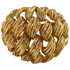 1970s Ribbed Basket Weave 18 Karat Yellow Gold Dome Ring