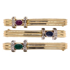 1970's Ribbed Stackable 18k Yellow Gold Bracelets Emerald Ruby Sapphire Diamond
