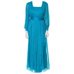 1970S RICHILENE Teal Silk & Lurex Fil Coupé Semi Formal Long Sleeved Gown With