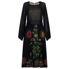 1970s Robell Couture Black Silk Floral Chiffon Dress